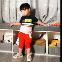 Baju/Setelan Kaos anak Laki Laki SAMO Import Premium Branded S-156 - Navy, S