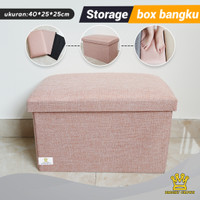 Bright Crown Bangku Storage Box Kursi Penyimpanan Barang Bangku - Pink