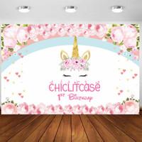 Custom birthday backdrop banner spanduk ultah unicorn pony dekorasi - 1x1 m