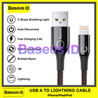 Baseus C-Shaped Lightning Auto Disconnect Power Off Kabel Data iPhone - Hitam
