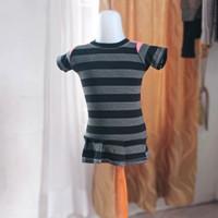 baju kaos anak wanita hitam garis merk justice LD64 panjang 42