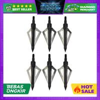 Hobby Kepala Anak Panah Hunting Arrow Head Aluminium Blade 6 PCS