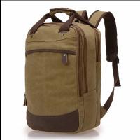 Tas Ransel Pria Kanvas Mugu - Tas Backpack Pria - 9008 - Hijau