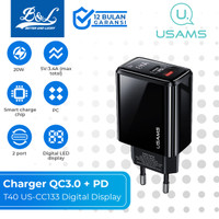 USAMS T40 Charger QC3.0 + PD Fast Charging 20W Digital Display