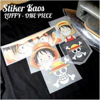stiker baju setrika - anime One Piece Luffy - 4 pcs gambar