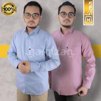 PREMIUM Baju Kemeja Pria Polos Panjang Slimfit Kerja Casual Formal 01 - Biru Muda, L