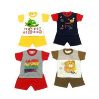 Setelan baju anak laki-laki oblong pendek usia 1-2,5 tahun - random