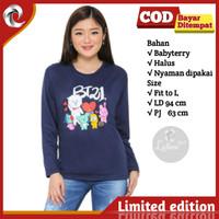 Sweater Atasan wanita Remaja Abg BTS Stripe Logo Terbaru - Mustard