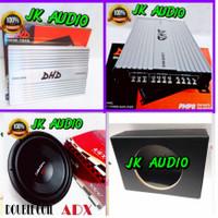 PAKET AUDIO MOBIL POWER AMPLIFIER PLUS SUBWOOFER 12 INCHI DOUBLE COI