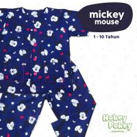 Setelan Baju Tidur Piyama Anak Tanpa Kerah Motif Mickey Mouse Navy