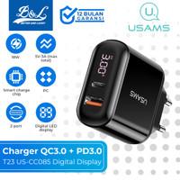 USAMS T23 Fast Charger USB QC3.0 + PD3.0 18W Digital Display