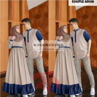 Fashion Couple   Baju Pasangan Pria Wanita Muslim   Aron Cp - Cream