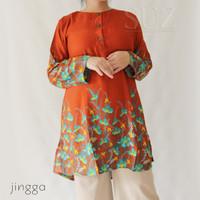 SUZ Tunik Wanita Atasan Muslim Long jumbo motif bunga - Jingga, 5L