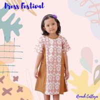 Baju Dress Batik Anak Perempuan Begonia Series cream motif Kalimantan