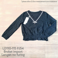 Atasan blus import wanita brokat lace vneck