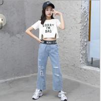 pakaian AWESOME baju setelan anak perempuan crop blouse dengan celana - Putih, 110