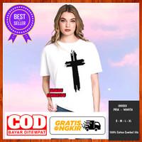 Baju Kaos Tshirt Distro Salib Rohani Kristen Pria Wanita Pendek Fit L - Putih, S