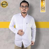 PREMIUM Baju Kemeja Pria Polos Panjang Slimfit Kerja Casual Formal 02 - Putih, XL