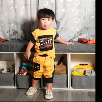 Baju/Setelan Kaos anak Laki Laki SAMO Import Premium Branded S-188 - Kuning, S