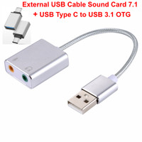 External USB Cable Sound Card 7.1 Channel + USB Type C to USB 3.1 OTG