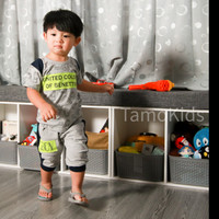 Baju/Setelan Kaos anak Laki Laki SAMO Import Premium Branded S-196 - Abu-abu, S