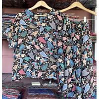 Set Piyama Baju Tidur Wanita Batik Stelan Lengan Pendek Kulot - BK-Hitam
