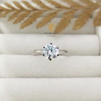 Cincin emas putih lady mata satu diamond look