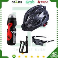 Paket Aksesoris Helm Sepeda MTB + Kacamata + Holder Botol Minum Sepeda - Hitam