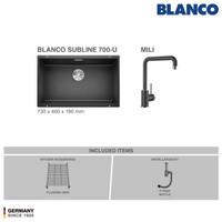 BLANCO Subline 700-U Silgranit Sink+ Kran Air BLANCO MILI Silgranit
