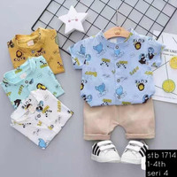 Setelan Baju Kemeja Anak Laki Kartun Hewan Usia 6 bulan 1 2 3 4 tahun - Putih S