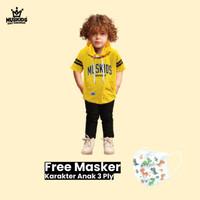 MUSKIDS Baju anak Laki Laki Hoodie Stripe Black White - Kuning, S