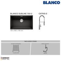 BLANCO Subline 700-U Silgranit Sink+ Kran Air BLANCO Catris-S Chrome