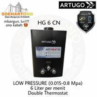 Artugo HG 6 CN Low Pressure Water Heater Gas 6 Liter per menit