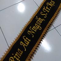 Selempang Wisuda Kain Bludru Hitam RENDA GOLD ukuran13cmx170cm