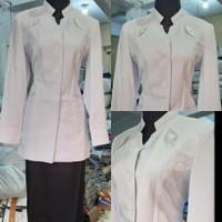 Baju Blazer Seragam Putih Polos Hipu Dinas ASN Kerja Kantor Wanita