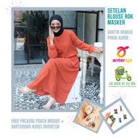 Baju Setelan Muslim Blouse + Rok + Gratis Masker Bahan Wolfis Premium
