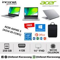 Acer Aspire 3 A314 35 C1W1 N5100 4Gb 256Gb 14Fhd W10+OHS Silver
