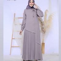 Baju Gamis Syari Wanita Terbaru Elsata Maxy Dress Jumbo Murah - Grey