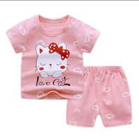 baju bayi perempuan, setelan kaos dan celana, bahan katun - 6-9 bulan