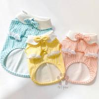 Petpaw Baju Anjing Kucing Ribbon Formal Top in 3 Colors Premium Import - Blue, XS