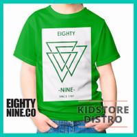Kaos Anak Distro Eighty Nine / Baju Anak Distro / Segitiga / Clothing - Hijau, S