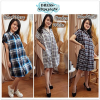 AB59363W Mini Dress Kemeja Kotak Wanita Korea Import Hitam Putih