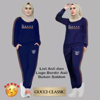 18258 Baju Setelan Pakaian Olahraga Senam Wanita Gucci TERBARU 2021 - Biru, XL