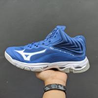 Sepatu Voli Mizuno Wave Lightning Z6 Mid Terbaru - Biru Putih, 40