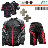 Baju Jersey Celana Kaos Sepeda Gunung Hitam Special Setelan Set Dingin