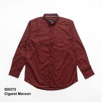 Baju Kemeja Kerja Pria Polos Merah Maroon Lengan Panjang Slimfit Murah - Maroon, M