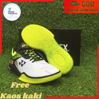 Sepatu BuluTangkis Badminton Yonex Power Cushion 65 Z2 Pria Original-1 - 39, Putih Ijo