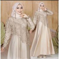 Dress Wanita Muslim Gamis Pesta Kombi Brokat Mutiara Baju Kondangan