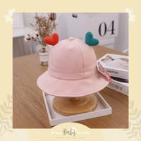 Heart Bucket Hat / Topi Bundar Anak Lucu / Topi Bundar Hati - Pink