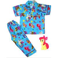 piyama anak kuda poni/baju tidur anak perempuan kuda poni - Biru Muda, S